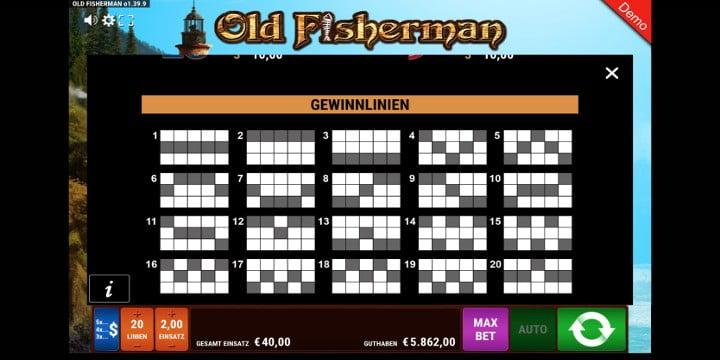 Old Fisherman Gewinnlinien