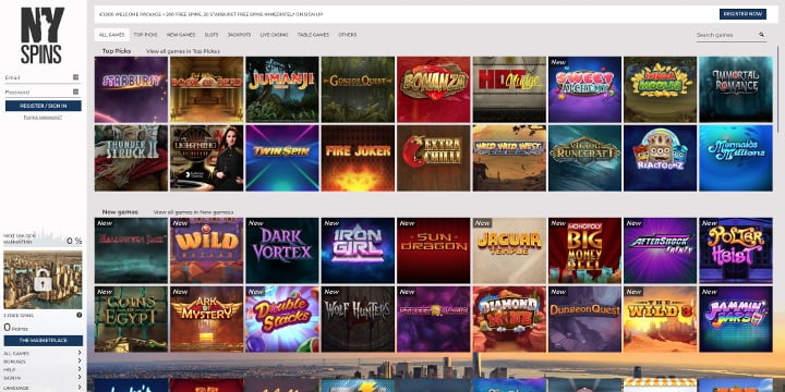 Alle Spiele NYSpins Casino