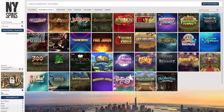 Beliebte Spiele NYSpins Casino