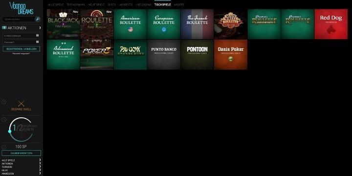 Tischspiele VoodooDreams Casino