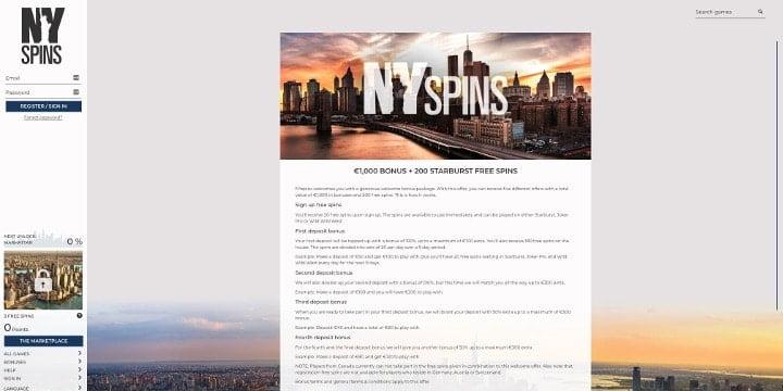 Willkommenspaket NYSpins Casino