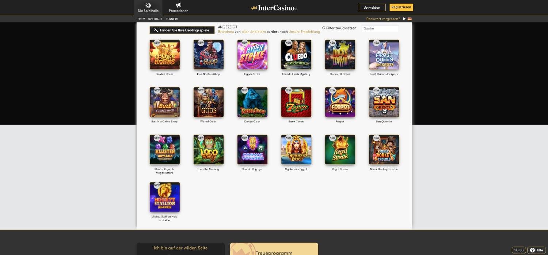 Intercasino neue Casino Spiele