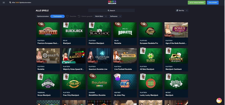 Slotsmillion Casino Tischspiele