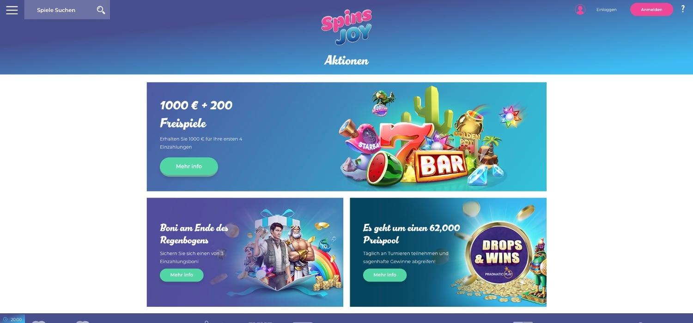 Spins Joy Casino Bonus Aktionen