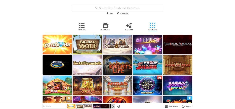 Wunderino Casino alle Spiele