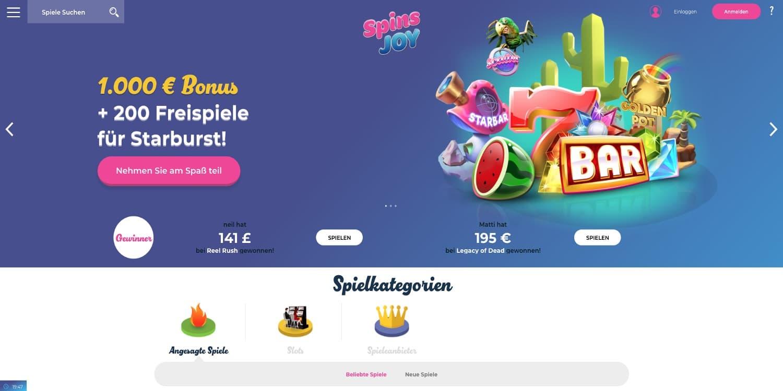 Spins Joy Casino Bonus