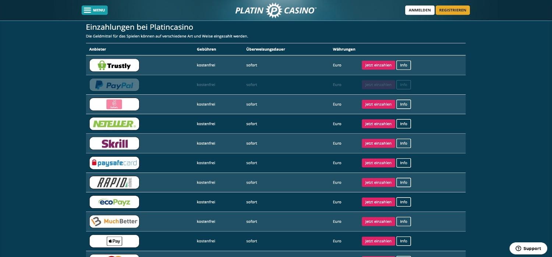 Platin Casino Zahlungen