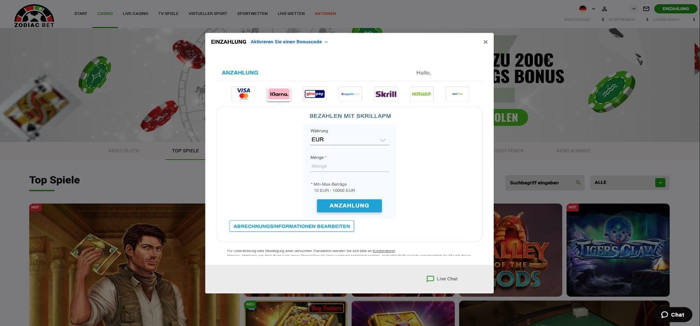 Zodiac Bet Casino Zahlungsmöglichkeiten