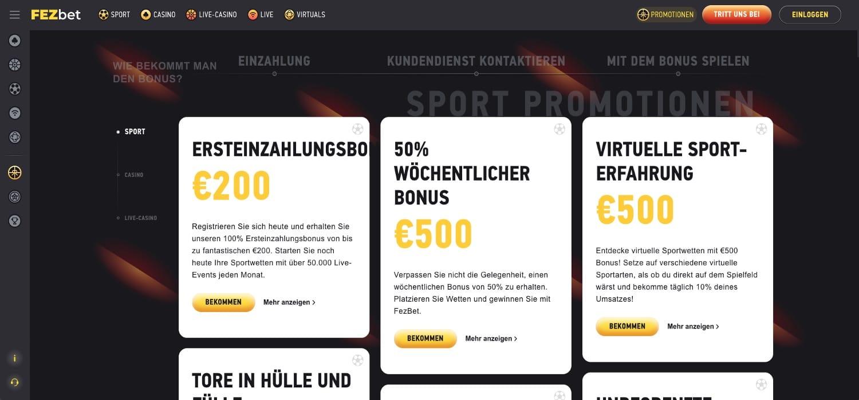FezBet Casino Bonus Aktionen