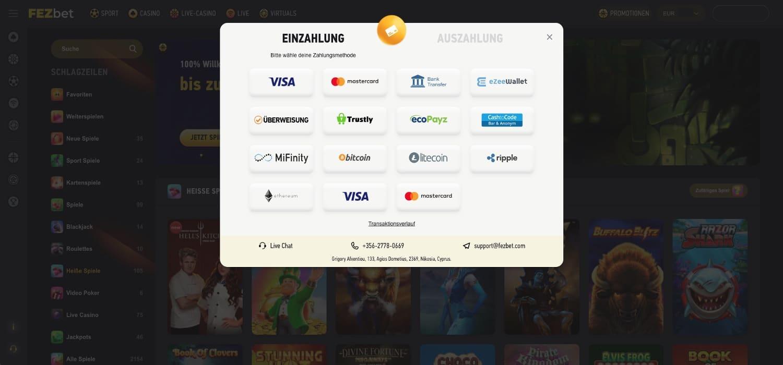 FezBet Casino Zahlungsmöglichkeiten
