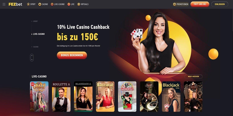 FezBet Live Casino Bonus