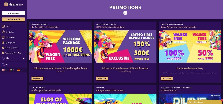 Haz Casino Bonus Aktionen