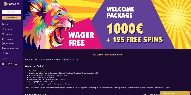 Haz Casino Bonus