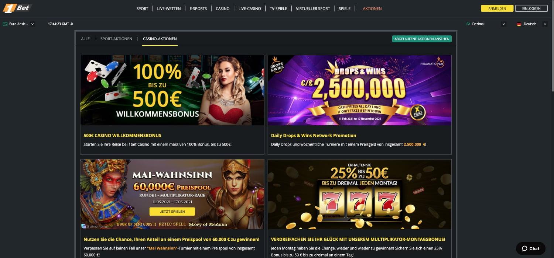 1bet Casino Bonus Aktionen