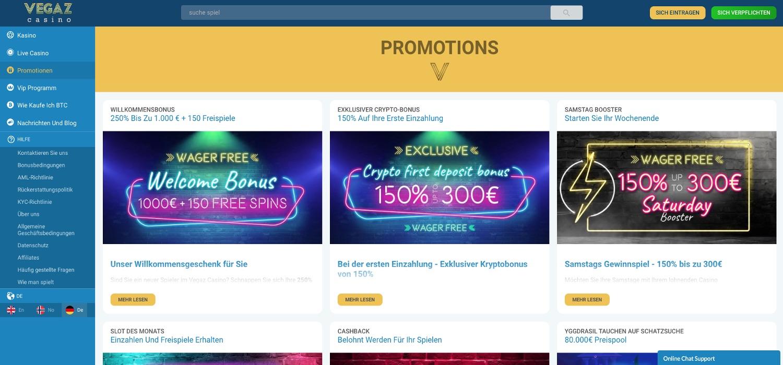 Vegaz Casino Bonus Aktionen