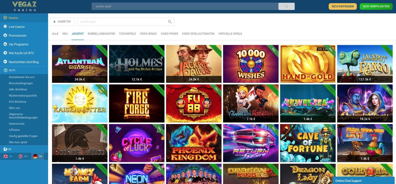 Vegaz Casino Jackpots