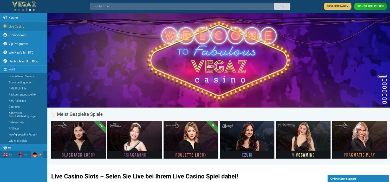 Vegaz Casino Live