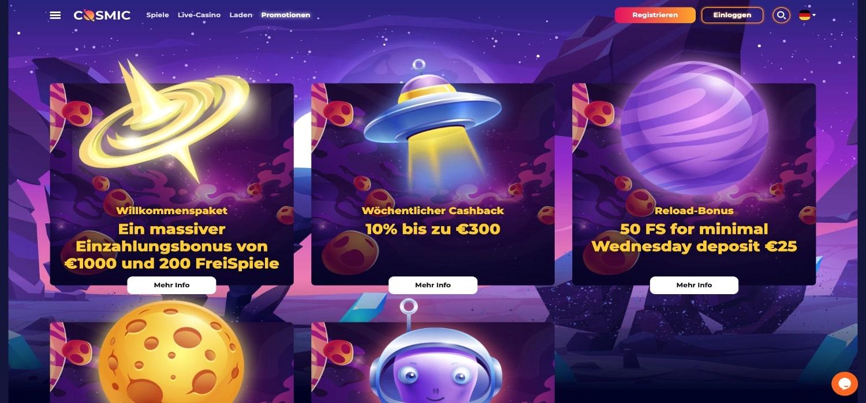 CosmicSlot Casino Aktionen