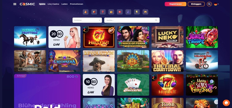 CosmicSlot Casino Alle Spiele