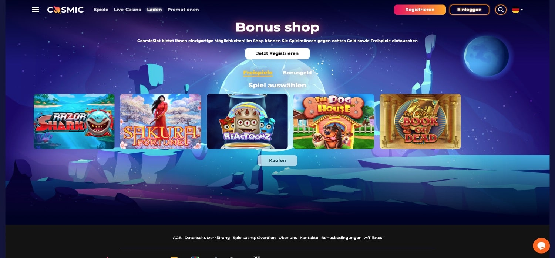 CosmicSlot Casino Shop