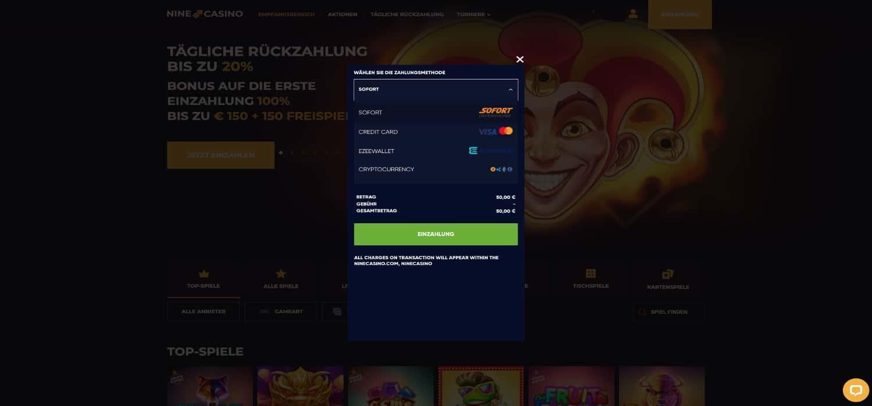 Nine Casino Zahlungen