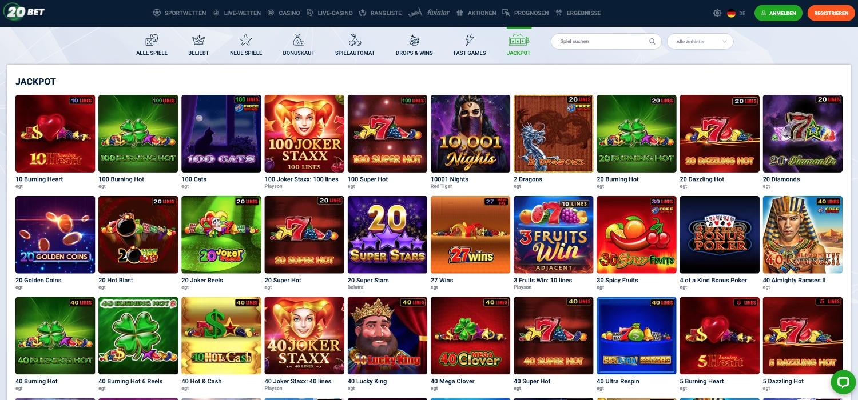 20Bet Casino Jackpots