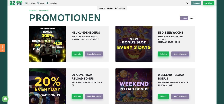 DozenSpins Casino Bonus Aktionen