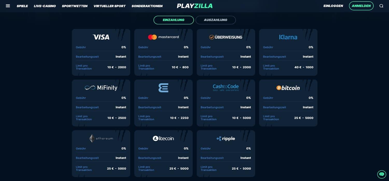 Playzilla Casino Einzahlen