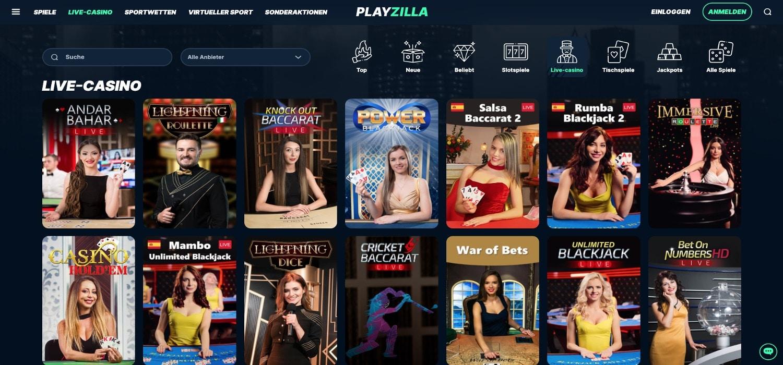 Playzilla Live-Casino
