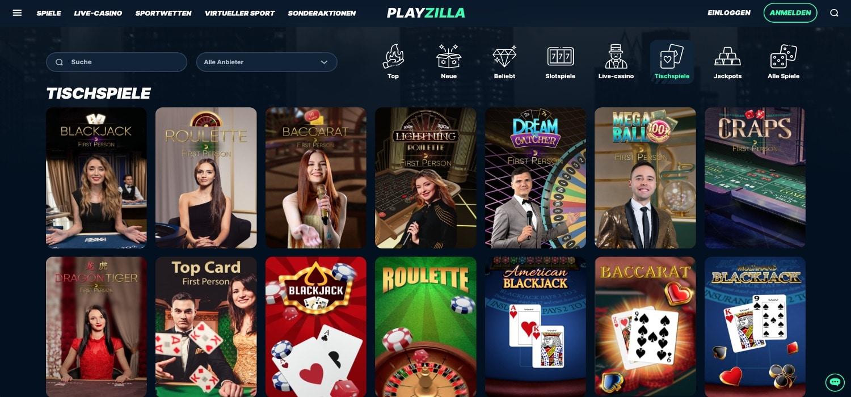 Playzilla Casino Tischspiele