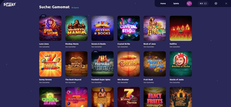 Spinaway Casino Gamomat