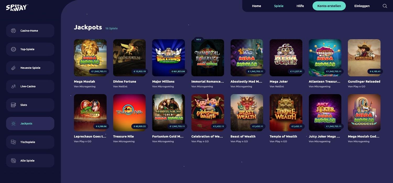 Spinaway Casino Jackpots