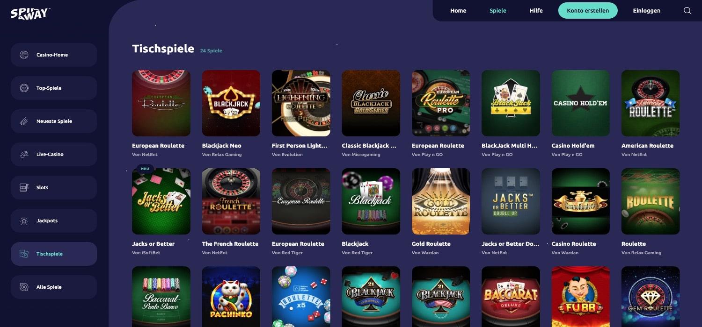 Spinaway Casino Tischspiele